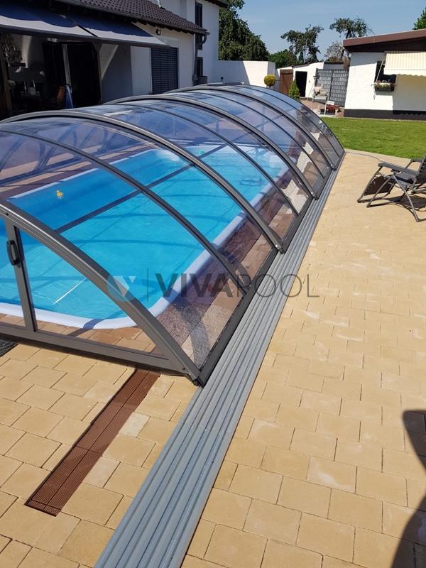 zadaszenie antrazytowe, baseny ogrodowe, poliestrowe vivapool